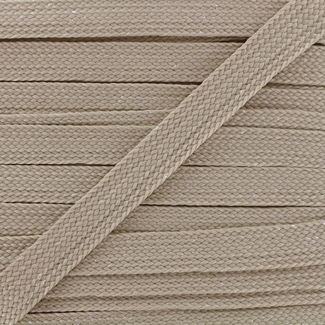 Carnaval flat braid cord - taupe/shiny