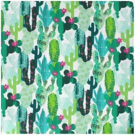 Coated cotton fabric Cactus - green x 10cm