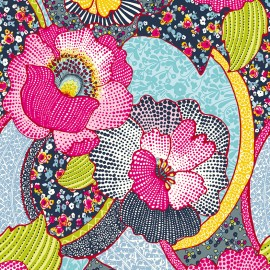 Coated cotton fabric Kezia - pink/blue x 10cm