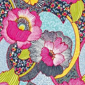 Tissu enduit coton Kezia - rose/bleu x 10cm