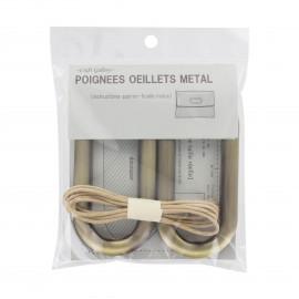 Vintage ovale oeillets handles  - bronze