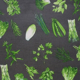 Coated cotton fabric Endive - anthracite x 50cm
