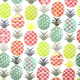 Tissu enduit coton Piny - vert/orange x 50cm