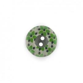 Bouton polyester Fleurette irisée - vert