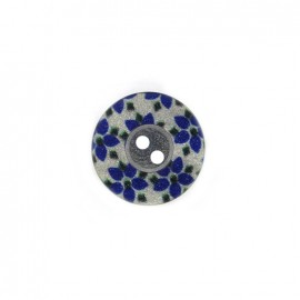 Bouton polyester Fleurette irisée - bleu