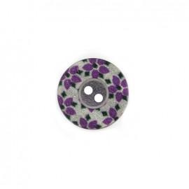 Bouton polyester Fleurette irisée - violet