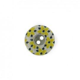 Bouton polyester Fleurette irisée - jaune