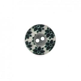 Bouton polyester Fleurette irisée - noir