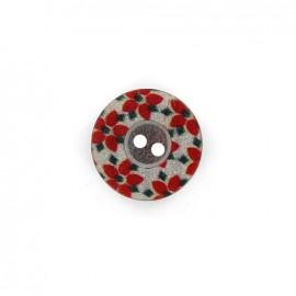 Bouton polyester Fleurette irisée - rouge