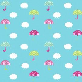 Tissu enduit coton brillant Demoiselles - multicolore x 10cm