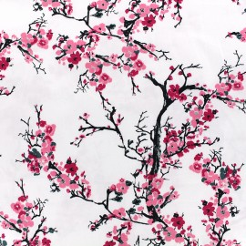 Tissu satin Pink Blossom by Penelope® - blanc x 10cm