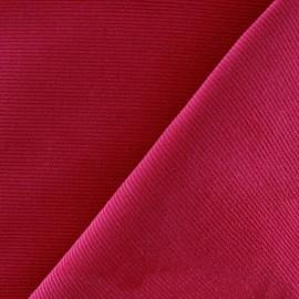 Tissu velours milleraies 200gr/ml - cerise foncé x10cm