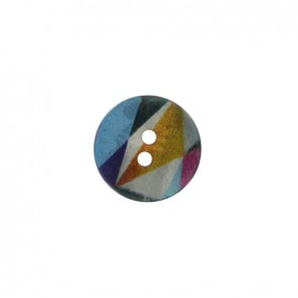 Bouton polyester Arlequin irisé - multicolore/jaune/bleu