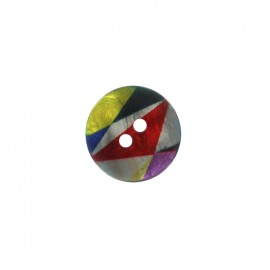 Bouton polyester Arlequin irisé - multicolore/rouge/jaune