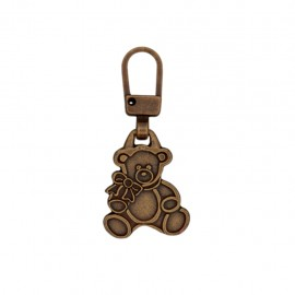 Ourson metal zipper pull - bronze