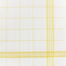 Glass cloth fabric - yellow/white x 10cm