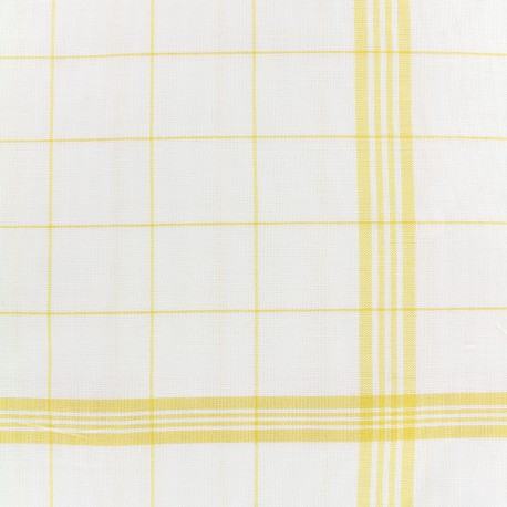 Glass cloth fabric - yellow/white x 10cm