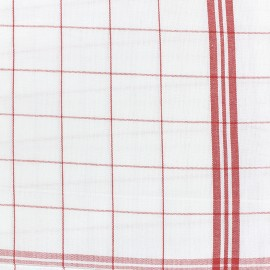 Glass cloth fabric - red/white x 10cm