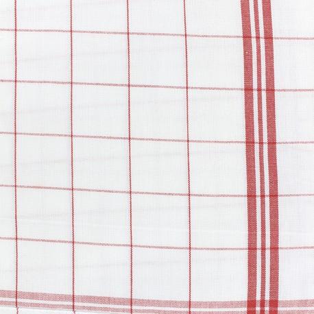 Tissu torchon essuie verre - rouge/blanc x 10cm