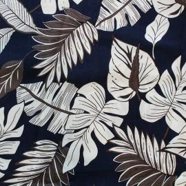 Cotton fabric Leaf - navy x 10cm