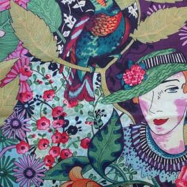 Tissu toile coton Edith - multicolore x 57cm