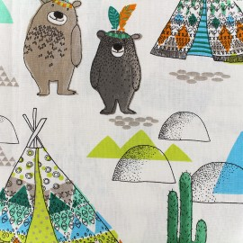 Cretonne Cotton Fabric Tipi - blue x 31cm