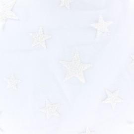 Tissu tulle floqué haute qualité Stars - blanc x 10cm