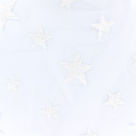 Flocked luxury tulle Stars - white x 10cm