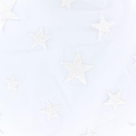 Flocked luxury tulle Stars - white x 10cm
