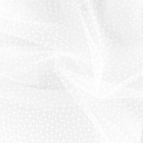 Tissu tulle floqué haute qualité mini pois - ivoire x 10cm