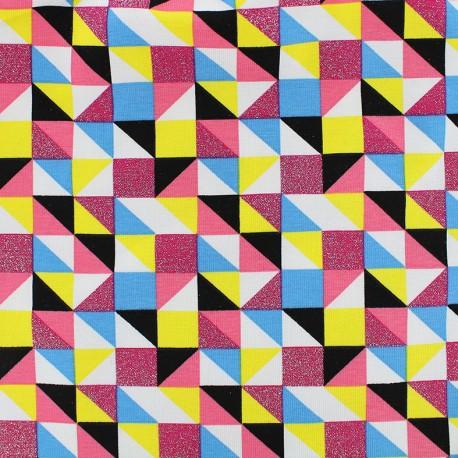 Tissu Jersey Qjutie Kids Sparkle - diagonal check x 10cm