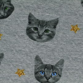 Jersey fabric Cats - grey x 18cm