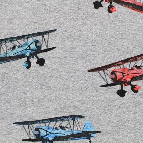 Tissu sweat léger Airplanes - gris x 36cm