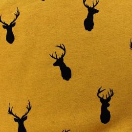 Sweat with minkee reverse side fabric Deer - ochre/black x 10cm