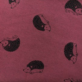Tissu sweat envers minkee Hedgehog - bordeaux/noir x 10cm