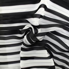 Tissu crêpe léger plissé - noir/blanc x 50cm