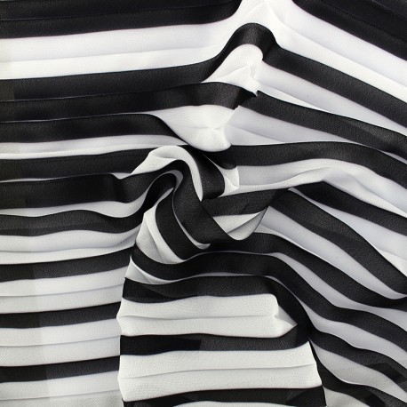 Light pleated crepe fabric - black/white x 50cm
