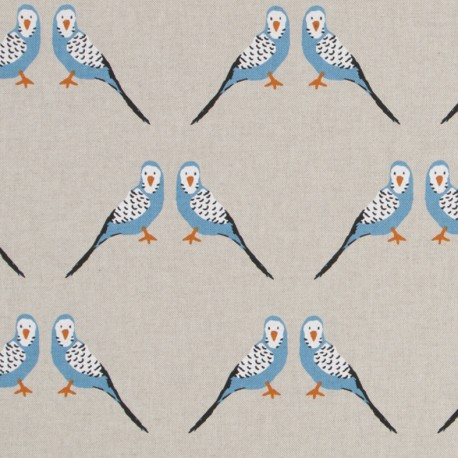 Cotton canvas linen look fabric - Parakeet x 20cm