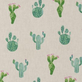 Cotton canvas linen look fabric - Cactus x 22cm