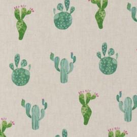 Tissu toile coton aspect lin - Cactus x 22cm