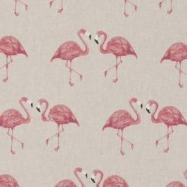 Tissu toile coton aspect lin - Flamingo x 21cm