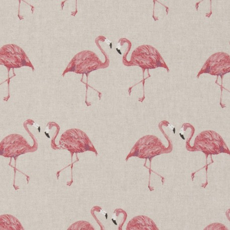 Cotton canvas linen look fabric - Flamingo x 21cm