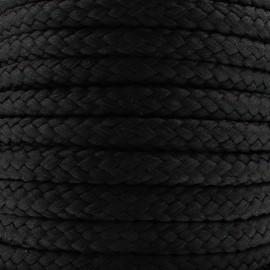 Cordon tressé 10 mm - noir x 1m