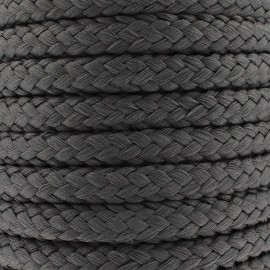 Braided cord 10mm - charcoal grey x 1m