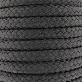 Cordon tressé 10 mm - gris anthracite x 1m