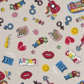 Tissu toile coton aspect lin - Fashion badge x 31cm