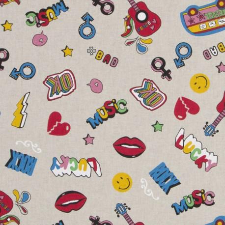 Cotton canvas linen look fabric - Fashion badge x 31cm