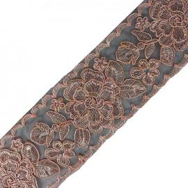 Broderie d'Orient embroidered lurex ribbon 73 mm - pink x 50cm