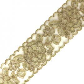 Broderie d'Orient embroidered lurex ribbon 73 mm - gold x 50cm