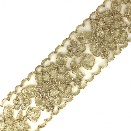 Ruban lurex Broderie d'Orient 70 mm - or x 50cm